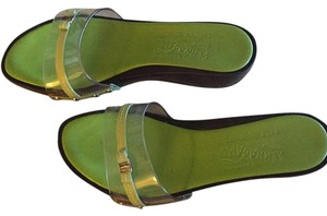 Salvatore Ferragamo Lime Green/Dk Brn Wood Wedge Sandals