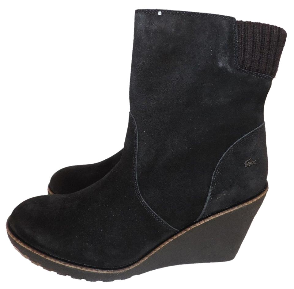 c947be884 Lacoste Black Lazaret Suede Wedge Grey Shearling Lining Boots Booties