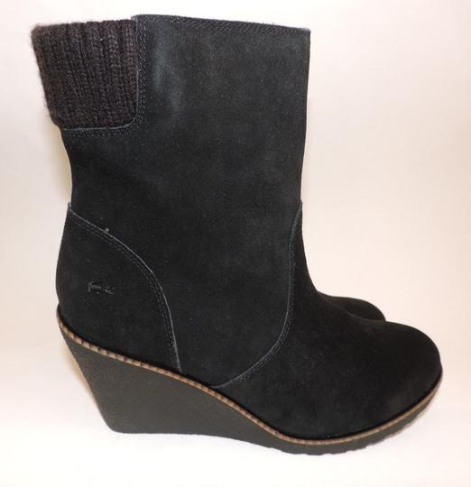 Lacoste Suede Wedge Lazaret Shearling Lined Black Boots