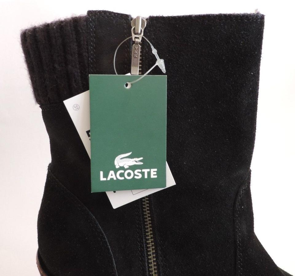 77447ce7a Lacoste Suede Wedge Lazaret Shearling Lined Black Boots Image 4. 12345