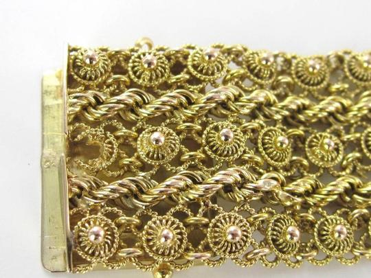 Other 14K SOLID YELLOW GOLD BRACELET WIDE MESH 34.5 CABLE CHAIN BOLLYWOOD JEWELRY