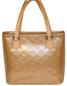 Louis Vuitton Leather Classic Embossed Monogram Tote in Tan