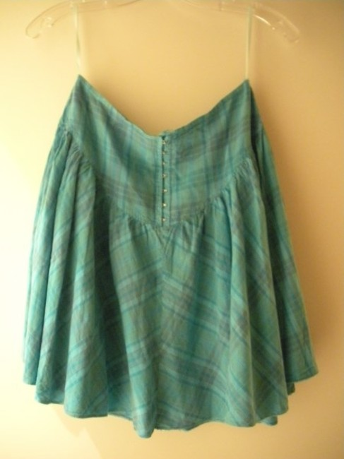 Other Mini Skirt blue green/aqua/lilac subtle plaid pattern