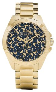 Coach Coach Tristen 14502348 Gold Tone Stainless Signature Black Dial Watch