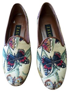 b1be41588c2 Zalo Loafer Size 7 Needlepoint Butterfly Tan with multi color print Flats -  item med img