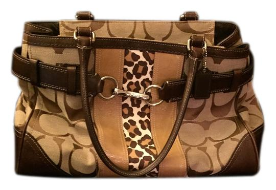 Coach Print Leather Tote Leopard Satchel in Signature/ Animal