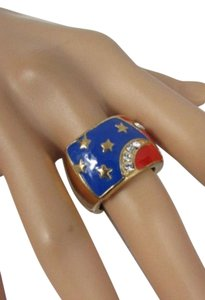Women American Flag Usa Fashion Ring Gold Elastic Stretch Metal Rhinestones