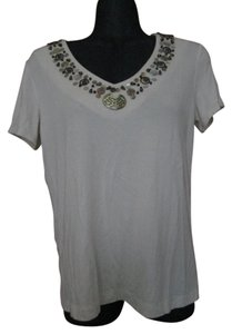 Chico's Beaded Stretchy Casual Spring Top Beige