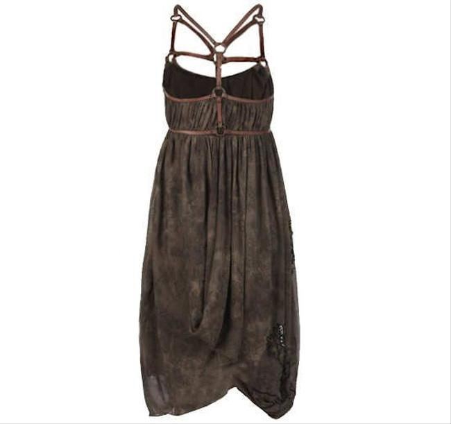 AllSaints Beads Leather Gothic Drapey Fantasy Dress