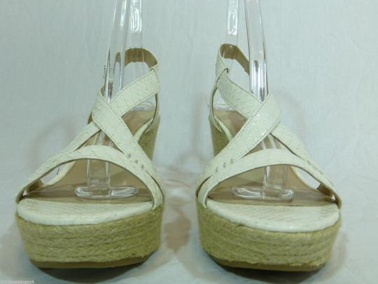 Via Spiga Strappy Leather Wedge Ivory Sandals