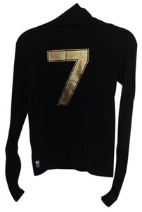 Emporio Armani Neck Stretchy Turtleneck Top Black with Gold