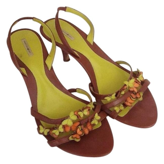 Item - Brown Lime and Orange Butterflies Pumps Size US 7 Regular (M, B)