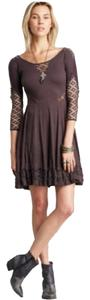 Free People short dress Gray Lace Lace Trim Cotton Swing on Tradesy
