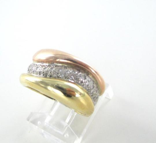 Other 14K WHITE YELLOW ROSE SOLID RING WEDDING BAND 42 GENUINE DIAMONDS .42 CARAT SZ 5