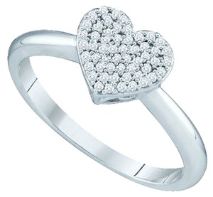 Other BrianG 10k WHITE GOLD 0.15 CTTW HEART DIAMOND MICRO PAVE LUXURY FASHION RING