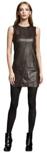 Vince Leather Mini Tunic Sheath Sleeveless Dress