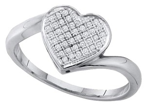 Other BrianG 10k WHITE GOLD 0.10 CTTW HEART DIAMOND MICRO PAVE LUXURY FASHION RING