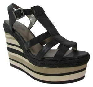 Pelle Moda Wedge Sandals Striped Heels Black Platforms
