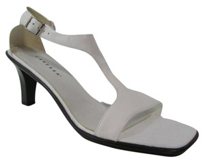 Caressa Square Toe Ankle Strap High Heel Leather White Sandals