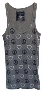 PINK Hearts Peace Top Grey