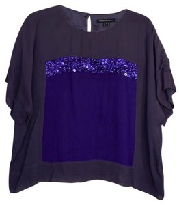 French Connection Loose Sequin Short-sleeved Top Purple