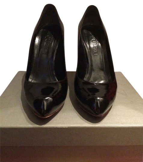 Alexander McQueen Heart Designer Hot Pink Soles Black Patent leather Pumps