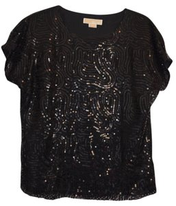Michael Kors Sequin Going Out Top Black Sequins