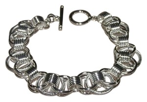 Sterling Silver Plated Unique Ring Link Bracelet Free Shipping
