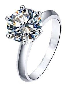 New 1.5CT Diamonique Solitaire .925 Silver Ring Sz 4