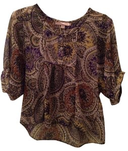 Forever 21 Love 21 Flowy Boho Gypsy Top Olive, Purple, Gold