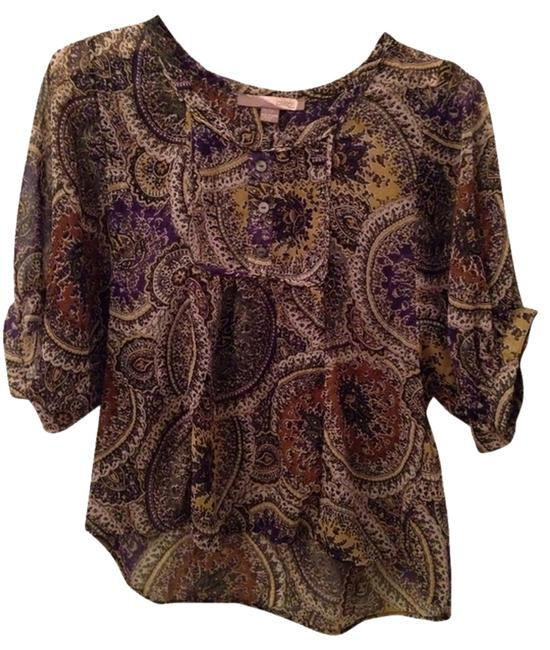 Forever 21 Love Flowy Boho Gypsy Forever Top Olive, Purple, Gold