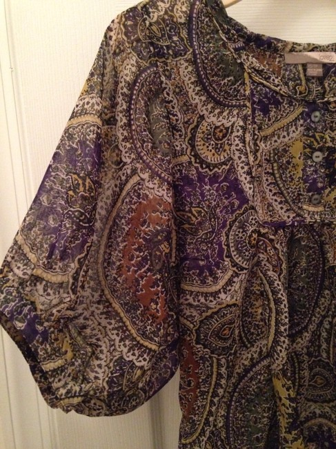 Forever 21 Love Flowy Boho Gypsy Top Olive, Purple, Gold