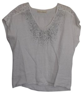 Graham & Spencer Linen & Linen Top White w. silver beading