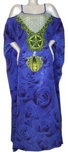 Blue Maxi Dress by Victoria Luxury Silk Kaftan Caftan