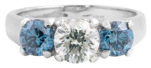 Other White and Blue Round Diamond 3 Stone Engagement Ring 18-K White Gold