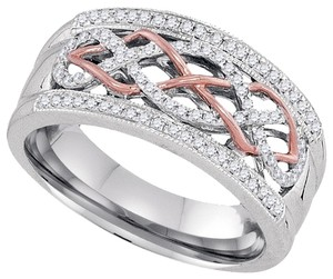 Other BrianG 10k WHITE & ROSE GOLD 0.25 CTTW DIAMOND LADIES MICRO PAVE LUXURY FASHION RING