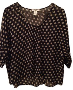 Bar III Polka Dot Chiffon Top Black