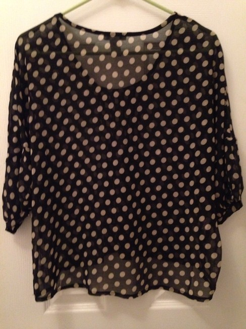 Bar III Polka Dot Chiffon 3/4 Sleeve Macy's Top Black