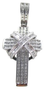 14K SOLID WHITE GOLD PENDANT 135 DIAMONDS CROSS 1.95 CARAT STUNNING FINE JEWELRY