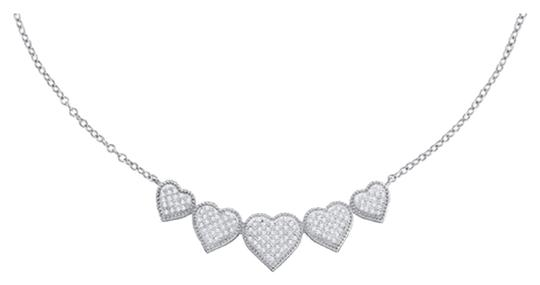 "Other BrianG 10k WHITE GOLD 0.35 CTTW DIAMOND MICRO PAVE LUXURY DESIGNER 16"" HEART NECKLACE"