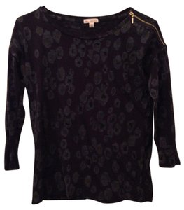 Gap Leopard Gold Zipper 3/4 Sleeve Top Navy
