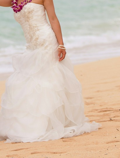 David's Bridal Organza Fit-and-flare Ivory Gown With Drop Waist Wedding Dress