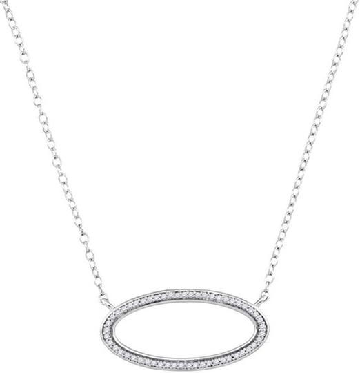 """Other BrianG 10k WHITE GOLD 0.12 CTTW OVAL DIAMOND MICRO PAVE LUXURY DESIGNER 16"""" NECKLACE"""