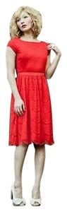 Shabby Apple short dress Red Knee Length Modest Lace Pretty Vintage Inspired Vintage Inspiried Bow on Tradesy
