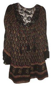 Free People short dress black/red Bohemian Festival Summer Lace on Tradesy
