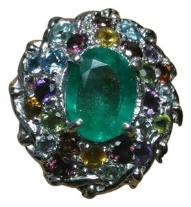8.92CT EMERALD MULTI GEMS 14K PLATED STERLING SILVER COAKTAIL RING
