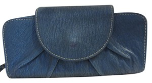 Tri Fold Snap Leather Satchel in BLUE
