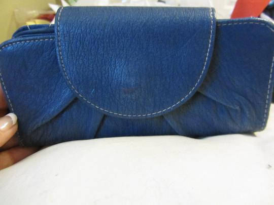 Other Tri Fold Snap Leather Secure Zipper Lots Of Places For Cards Id Place Nice Lots Of Area's To Keep You Organized Leather Satchel in BLUE Image 3
