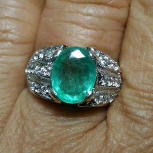 Other 1.96CT NATURAL COLOMBIAN EMERALD & CZ 14K GOLD PLATED STERLING SILVER RING