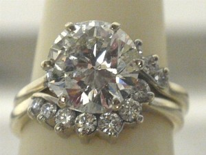 3.35 Carat Diamond Engagement Ring With Matching Diamond Wedding Band -stunning
